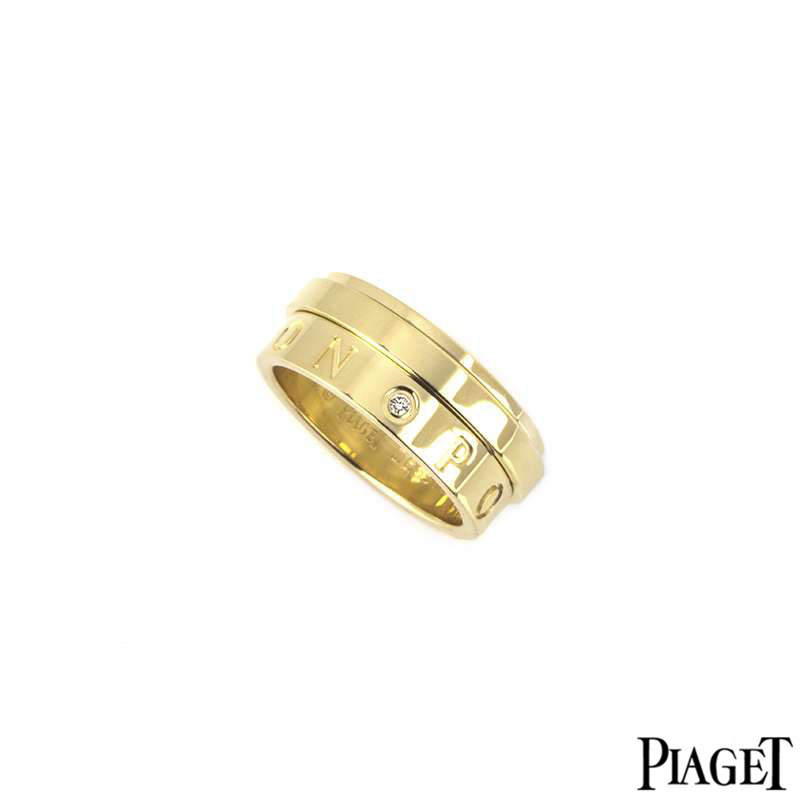 Piaget 18k Yellow Gold Diamond Set Possession Eccentric Ring B&P G34PX154